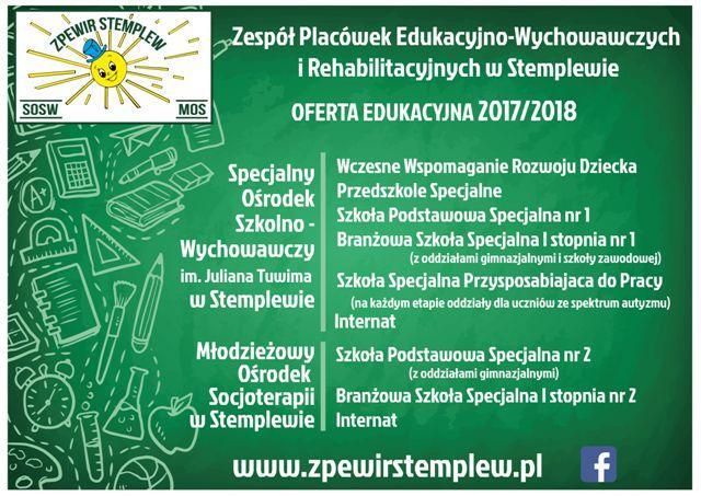 Zespół Placówek Edukacyjno-Wychowawczych iRehabilitacyjnych wStemplewie ogłasza nabór do Szkoły iPrzedszkola